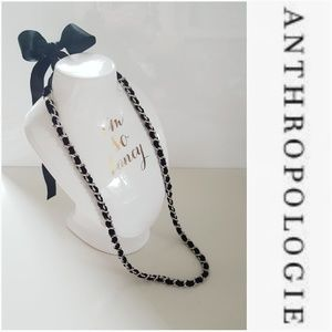 NWOT ANTHROPOLOGIE BLACK SATIN AND SILVER NECKLACE